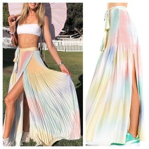 Wildfox Encore Rainbow Adjustable Wrap Maxi Skirt